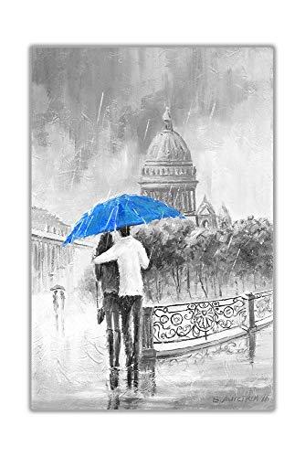 Cuadro en lienzo Pintura Blanco y negro Pareja romántica en el puente con un paraguas púrpura Estampado Arte de la pared 60x80 cm / 23,6