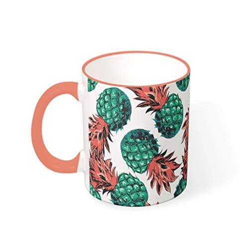 Knowikonwn - Taza de cerámica retro con mango de piña y fruta de verano, ideal para uso doméstico (330 ml)
