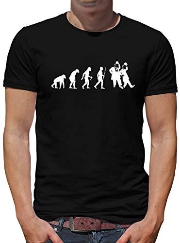 TShirt-People Evolution Dick und Doof T-Shirt Herren Spass Fun Lustig Sprüche XXXL Schwarz