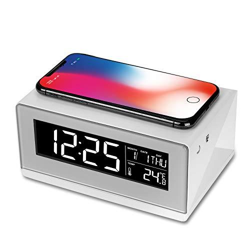 WILIT A12 bedlampje met wekker en draadloze oplader, tafellamp met dimbaar scherm, 3 helderheidsniveaus, draadloze oplader voor Samsung Galaxy S10/S9/Note 10, iPhone 11/XS/XR/X/8, wit