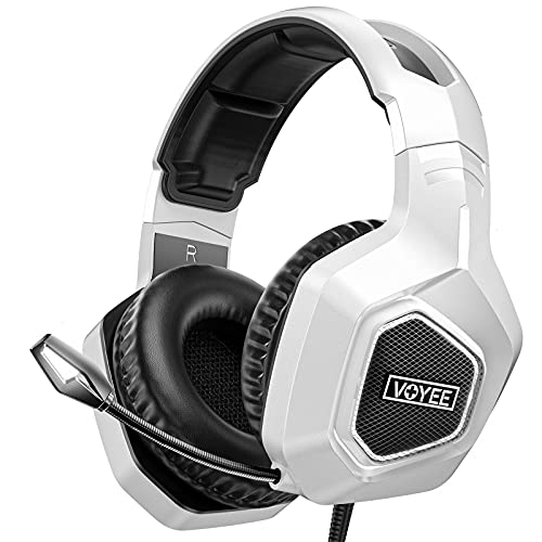 VOYEE Gaming Headset Compatible with Xbox/PC/PS5/PS4, Wired Noise Canceling Over Ear Headphone with Mic/Surround Sound/LED Light Compatible with Switch/PC/PS5/PS4/Xbox One/Laptop/Tablet - Black White