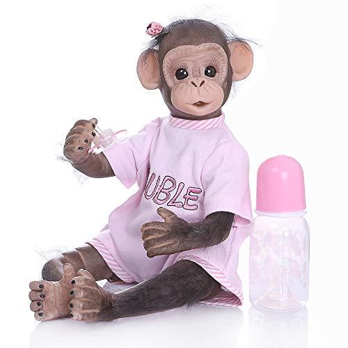 iCradle Muñeca Reborn 40 cm Muñeca Reborn Chimpancé Muñeca Hecha a Mano 16 Pulgadas Real Life Suave Silicona Jocko Muñecas (Pink)