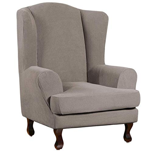 H-CAR Funda para silla de ala de jacquard, 2 piezas, protector de muebles, funda de sofá de 1 plaza, con parte inferior elástica, color marrón