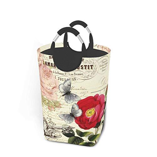 Cesto de almacenamiento para la colada, estilo vintage, francés, diseño de rosas efemera, mariposas, collage, grande, plegable, para ropa sucia, juguetes, libros