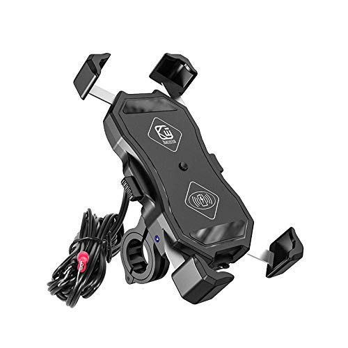 QHJ - Accesorios para bicicleta para mujer y hombre, soporte para teléfono de motocicleta de 15 W inalámbrico + cargador USB QC 3.0 para teléfono GPS de 12 a 24 V K, accesorios para bicicleta