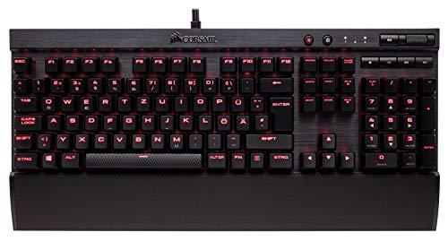 Corsair K70 LUX Rot LED Mechanische Gaming Tastatur (Cherry MX Blue: Präzise und Hörbar, Rote LED Hintergrundbeleuchtung, QWERTZ DE Layout) schwarz