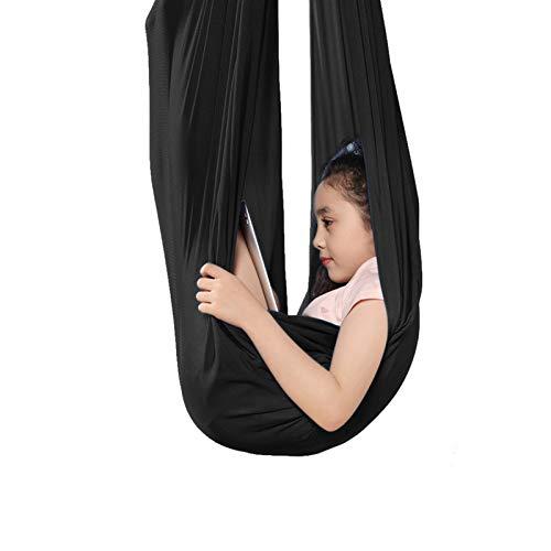 LSRRYD Sensory Hammock Swing Cuddle Indoor Regolabile Aerial Yoga Grande Per Autismo ADHD E SPD Ha Un Effetto Calmante Su Bambini Con Le Necessità (Colore: Nero, Dimensioni: 1.5x2.8m)