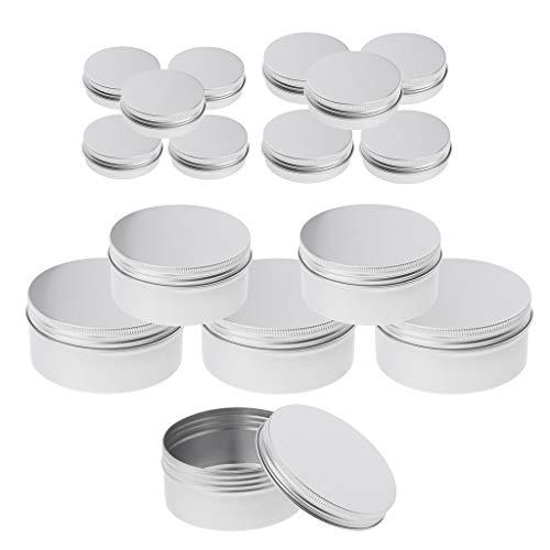 Baoblaze 26 Stücke Aluminiumdosen rund Vorratsdosen mit Schraubdeckel Metalldosen Reisedosen Kosmetik Nachfüllbehälter