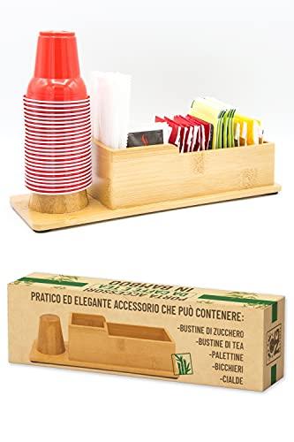 NG Brothers Porta Bustine di Zucchero e Tè, Bicchieri Caffe, Palette e Cialde in Bamboo per Bar, Ufficio, Casa