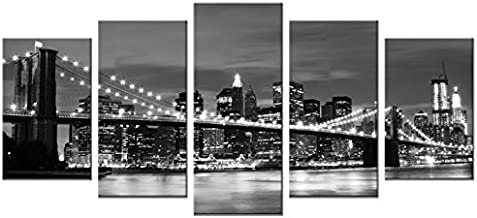 Wieco Art - Broooklyn Bridge Night View 5 Panels Modern Landscape Artwork Canvas Prints Abstract Pictures Sensation to Pho...