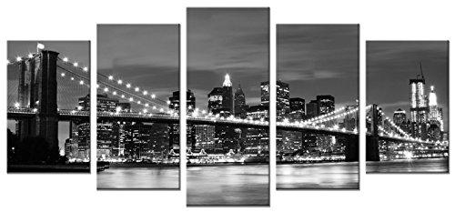 Wieco Art Brooklyn Bridge Night View 5 Panels Modern Landscape Artwork Canvas Prints Abstract...