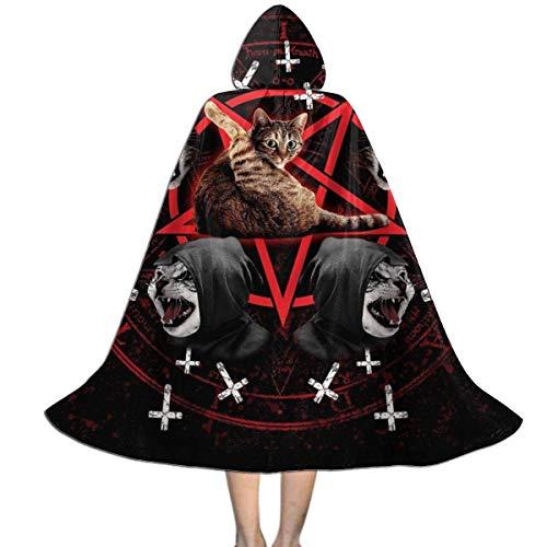 Capa para Nios Satanic Cat Pentagram Death Black Metal Capa con Capucha Impresin HD Larga Disfraz De Moda Disfraces De Vampiro para Mujer Adultos 150X40Cm