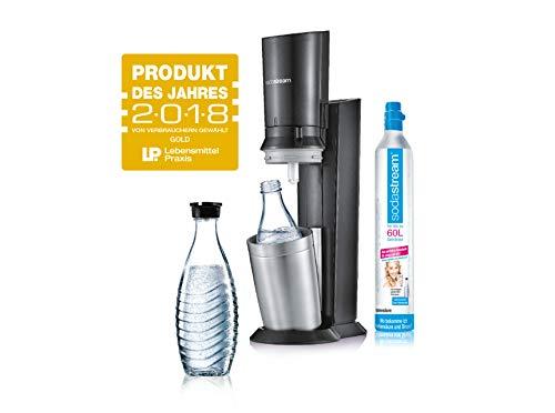 SodaStream Crystal 2.0 Wassersprudler mit CO2-Zylinder und 2x Glaskaraffen, titan