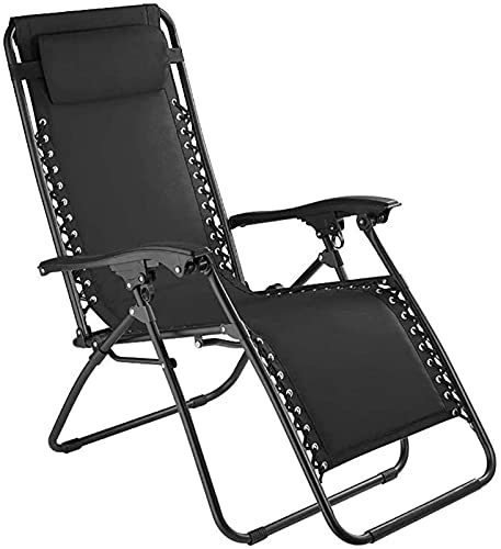 Patio Lounge Chairs Recliner Balcony Armchair Folding Reclining Chair Female Child Pool Garden Sun Lounger Portable Office Lunch Break Chairs with Move Headrest, 150kg Load, Black