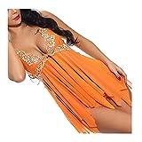 Lenceria Mujer Sexy Conjuntos, Bodys sexys Mujer lencería Sexy Mujer Picardias Inicio Pijamas, Pijamas Irregulares Perspectiva de Costura del cordón(Naranja) (Color : Orange, Size : L)