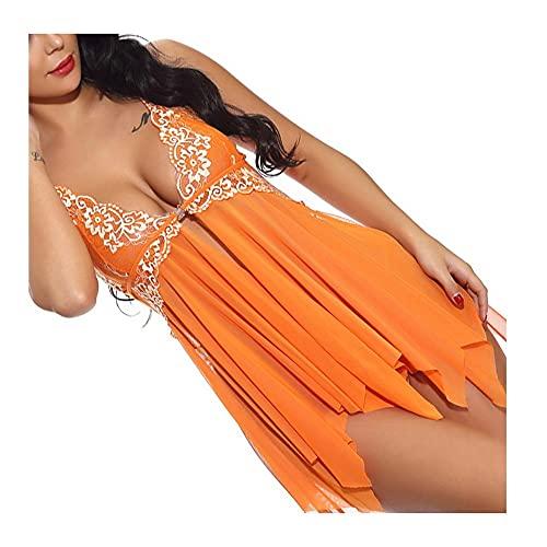 Lenceria Mujer Sexy Conjuntos, Bodys sexys Mujer lencería Sexy Mujer Picardias Inicio Pijamas, Pijamas Irregulares Perspectiva de Costura del cordón(Naranja) (Color : Orange, Size : XXL)