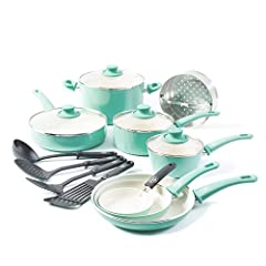 "FREE YOUR HEALTHY CHEF — Our cookware is made of Thermolon ceramic non-stick, manufactured free of PFOA, PFAS, lead or cadmium. Even if you accidentally overheat your pan, toxic fumes will not release. SET INCLUDES — 4"" mini frypan, 7"" open frypan, 9..."