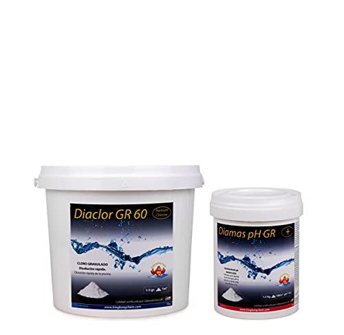Pack Cloro Rápido + Elevador pH: DIACLOR GR 60 5 KG + DIAMAS PH GR 1 KG | Kit Tratamiento Piscina