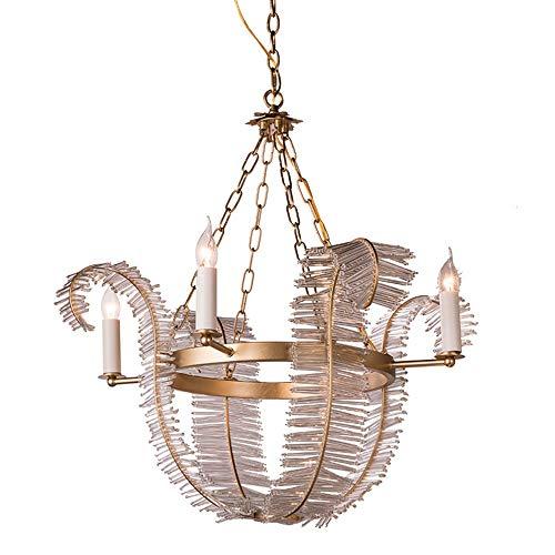 Crystal led chandelier personalidad retro lámpara de hoja de plátano sala de estar dormitorio comedor villa chandelier φ74 * h73cm Yang1mn