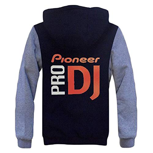 Pioneer Pro Dj Mäntel Winter-Männer mit Kapuze Plus Samt Mantel Printed verdicken Bequemes Oberbekleidung Zipper-Jacke Pioneer Pro Dj Kapuzenpullover (Color : A04, Size : Height-175cm(Tag L))