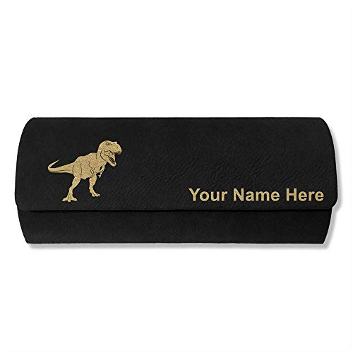 Sunglass Case, Tyrannosaurus Rex Dinosaur, Personalized Engraving Included (Black)