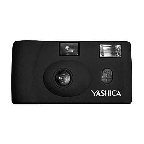 Yashica MF-1 schwarz Snapshot 35 mm Kleinbild Kamera-Set (mit eingelegtem Film + Batterie)