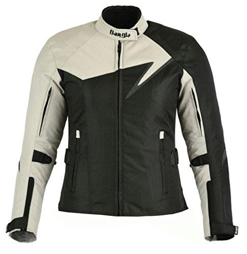 Bangla Modische Damen Motorradjacke Touren Jacke Bikerjacke B-11 Textil grau XXXL