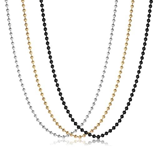 JeweBella Collar de Cadena de Bolas 3PCS Acero Inoxidable Bola Cadena Collar Hombre Mujer Color Plata Dorado Negro Colgante de Bolas de 40-75cm