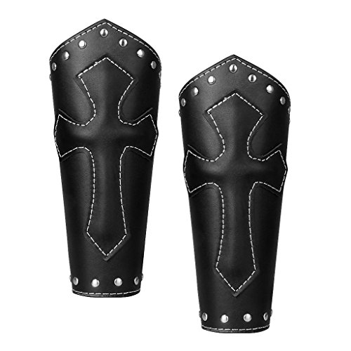 2 Stü PU Lederarm Arm Schutz Kreuz Armband Mittelalter Handgelenk Armschiene Schwarz