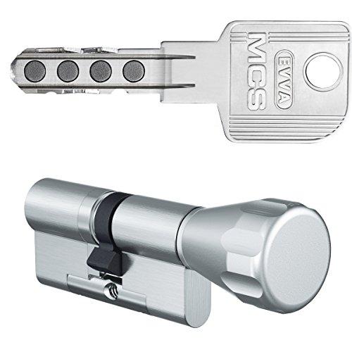 EVVA MCS Knaufzylinder 56/36K inkl. 5 Schlüssel- Hochsicherheitszylinder - verschiedenschließend - alle Längen von 30/30K bis 60/60K auswählbar (K = Knaufseite/Innenseite)