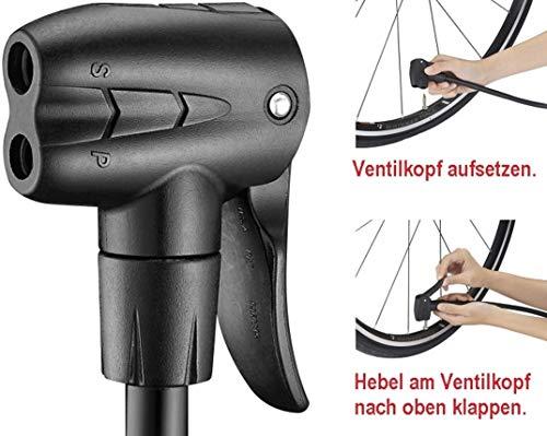 Standpumpe mit Extra grossem Manometer BETO Fahrradpumpe – für Alle Ventile - 3