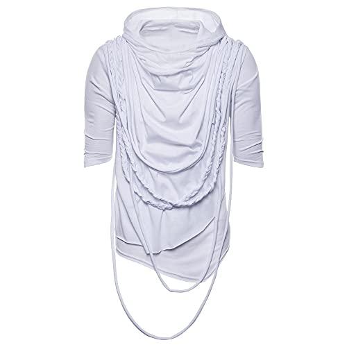 Cappuccio T-Shirt Uomo Estiva Regular Fit Classica Moda Tinta Unita Uomo T-Shirt Moderna personalità Irregolare Mezza Manica Design All'Aperto Jogging Uomo Shirt