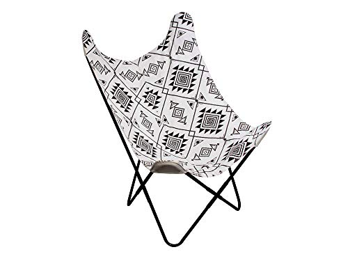 The Home Deco Factory – Sillón Mariposa, diseño étnico, Color Negro y Blanco, Metal, 74 x 79 x 101 cm
