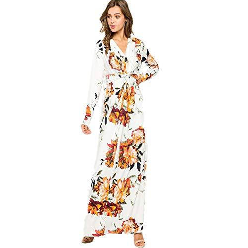 YUHUALI Herbst Neue Frauen asiatischen Temperament Mode drucken langärmeliges Kleid weiß S