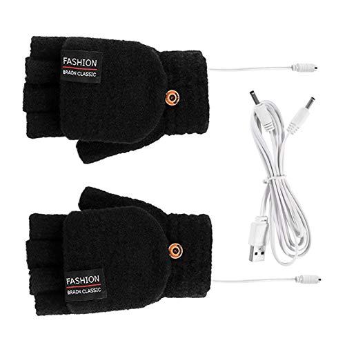 YSISLY 1 par unisex USB-uppvärmda handskar, vinterhandskar med halvfingrar, elektriska värmevantar för kvinnor män flickor studenter artrit (svart)