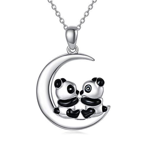 Collana con ciondolo a forma di panda portafortuna, in argento Sterling 925, con ciondolo a forma di panda sulla luna, idea regalo per donne e ragazze