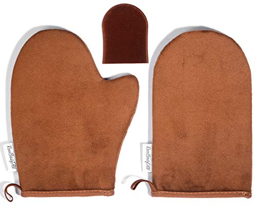 Reneebeautytan 3 Packs Self Tan Mitt Sunless Tanning Gloves Applicator Face Mitts for Self Tanner