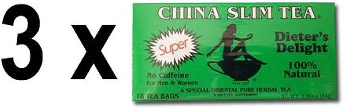 3 Pack of China Slim Tea Super Slim Dieter's Delight All Natural 18 Tea Bags