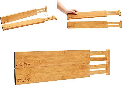 Bamboo Kitchen Drawer Divider Organizer - Thomas Grace Homewares – Stackable Deep Drawer Divider! Set-of- 4 Spring Loaded, Expandable, Adjustable Bedroom, Bathroom, Baby Clothes, Cutlery, Junk Drawe