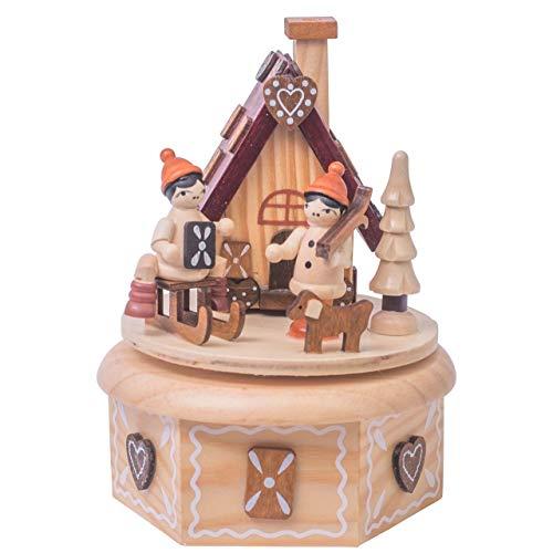 OBC Spieluhr Räucherhäuschen Lebkuchen Natur 16cm, Weihnachtslied Oh Tannenbaum/Spieldose Holz Handbemalt Erzgebirge-Stil/Deko Advent & Weihnachten