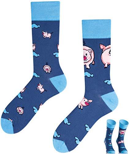TODO COLOURS Casual Mix & Match Socken - Little Piggy - mehrfarbige, verrückte, bunte Socken (43-46, Little Piggy)