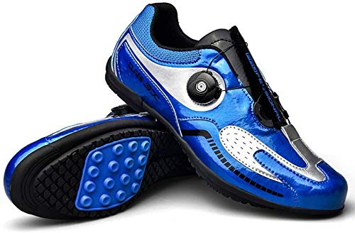 CHUIKUAJ Calzado de Ciclismo Calzado de Bicicleta para Hombre y Mujer Calzado de Bicicleta de Carretera,Zapatos de Bicicleta Ultraligeros con Hebilla de Doble Columna de Fibra de Carbono,Blue-37EU