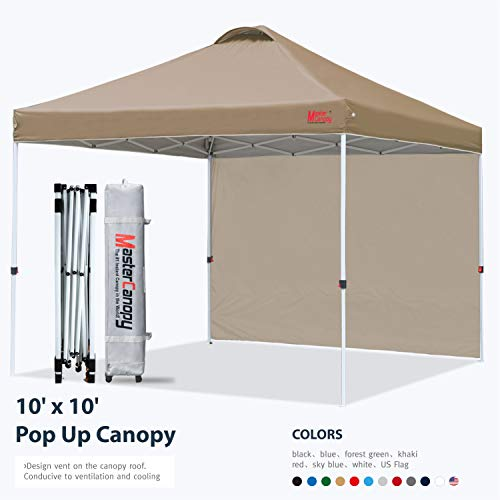 MASTERCANOPY Patio Pop Up Instant Shelter Beach Canopy Better Air Circulation Canopy with Wheeled Backpack Carry Bag (10x10 ft, Khaki)