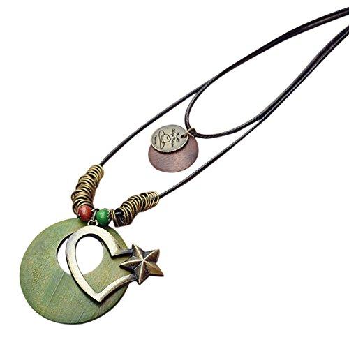 Lumanuby 1x Doble Capa Amor Cuerda Collar Largos Femeninos Colgante Collar Mujer Mujeres Gargantilla Estilo étnico de la Vendimia Cadena Larga 90CM (Verde)