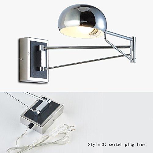 Wvfguj Home wandlamp Wandlamp Modern Praktisch Swing Arm Flexible Foldable Plating/zwart ijzeren muur Light Slaapkamer Nachtlampjes Study Reading Muur lamp armatuur (zonder Switch/Integrale Switch