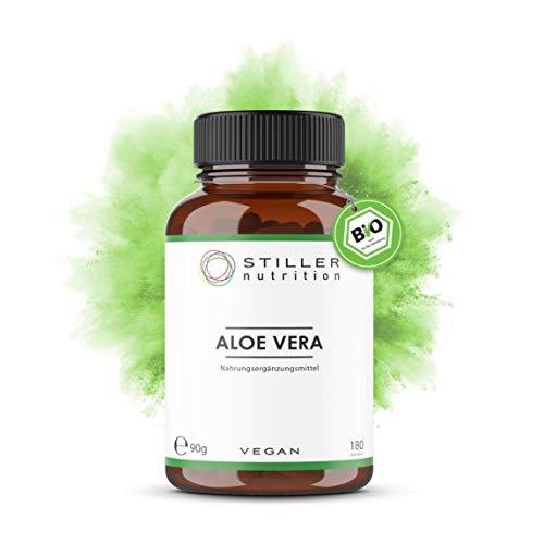 STILLER nutrition® Premium Bio ALOE VERA 500mg Kapseln - 180 Kapseln - Hochdosiert - Naturrein - Ayurveda Nahrungsergänzung - Bio-Qualität - Kontrolliert in Deutschland