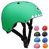 KORIMEFA Casco Bicicleta para Niños Casco Infantil Ajustable para Monopatín Patinaje BMX Esquiar, Casco para multibles Deportes niño niña de Edad de 3-13 años (Tiburon Verde, M)