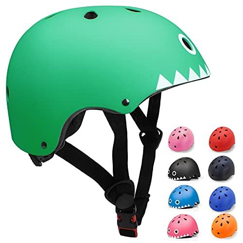 KORIMEFA Casco da Bici per Bambini Casco per Bambini e Adolescenti Leggero ma più Sicuro Anche per Skateboard, Monopattino, per 3-13 Anni Ragazzi Donna (Squalo verde, S)