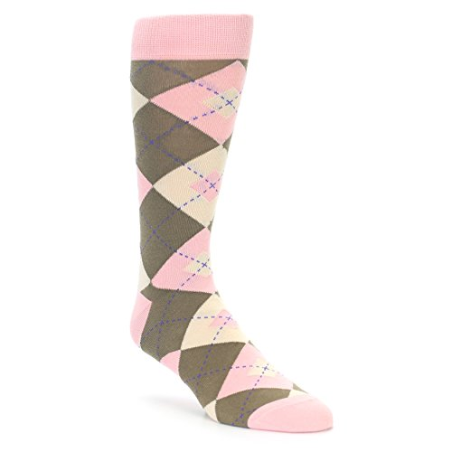 Statement Sockwear Men's Argyle Groomsmen Wedding Socks (Pink Brown Tan Wedding)