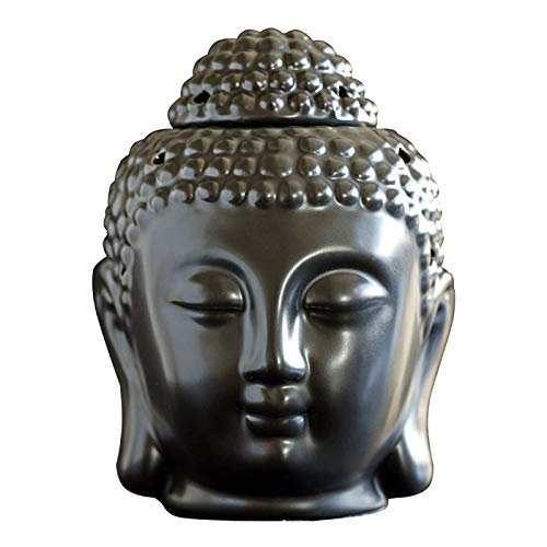 MEIRUIQI Candle Warmer Buddha Head Statue Oil Burner Translucent Ceramic Great House Decoration (Black)